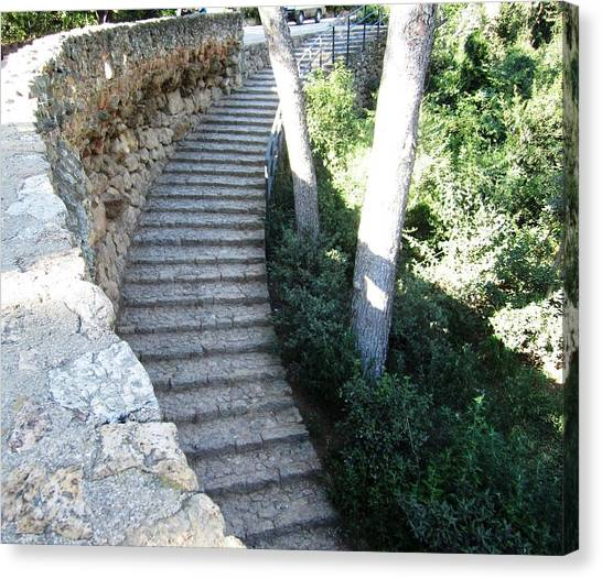 Park Guell Curved Steps Stairway In Barcelona Spain Canvas Print by John Shiron