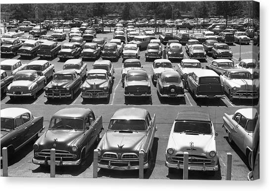 Parking Lot Full Of Cars Canvas Print by George Marks