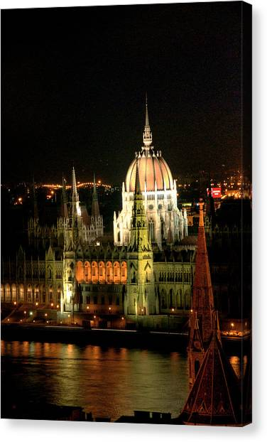 Parliament Building Lit Up At Night, Danube River, Canvas Print by Roberto Herrero Garcia