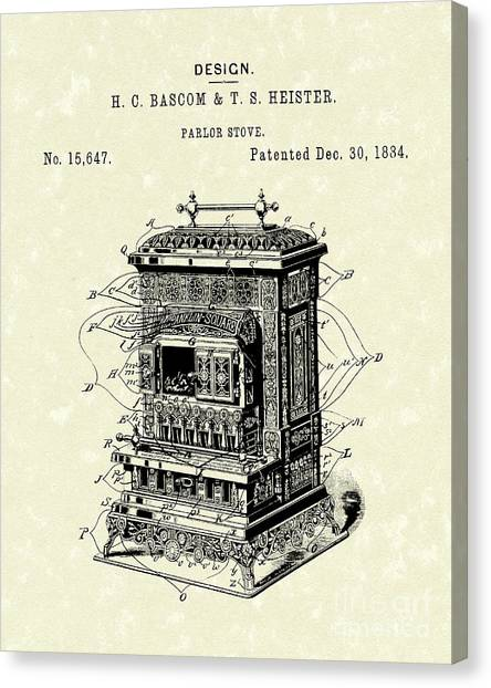 1880s Canvas Print - Parlor Stove Bascom And Heister 1884 Patent Art by Prior Art Design