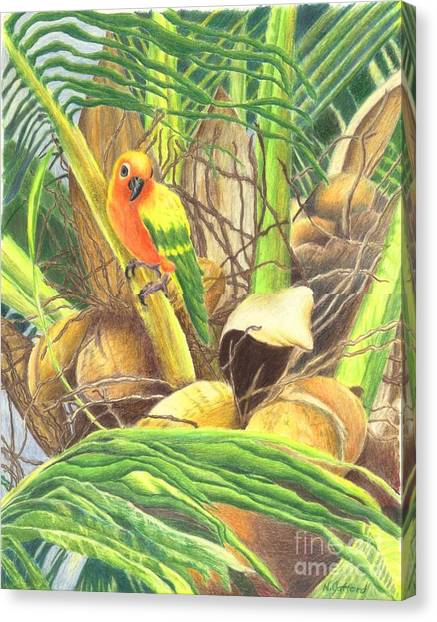 Parrot In Palm Canvas Print