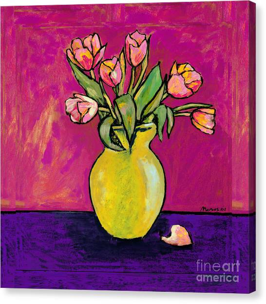 Parrot Tulips In A Yellow Vase Canvas Print