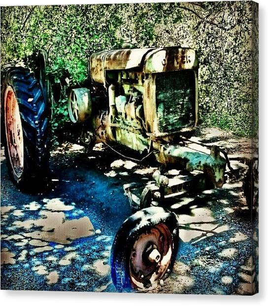 Tractors Canvas Print - Part Of The Tractor Graveyard At by Bill Maxwell