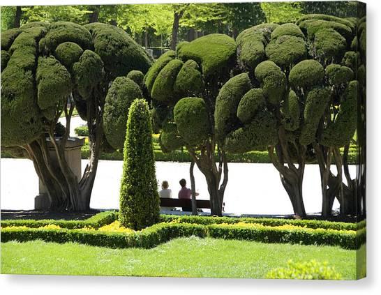 Parterre Gardens In Parque Del Buen Retiro Canvas Print by Krzysztof Dydynski