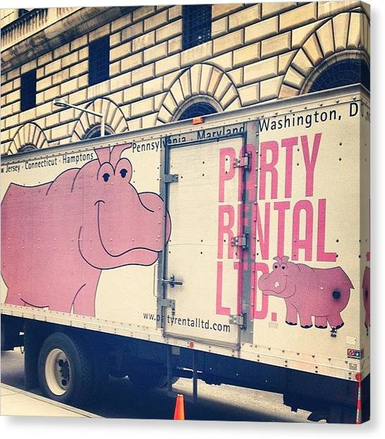 Hippos Canvas Print - Party Time! #partytruck #hippo by Virginia Watson