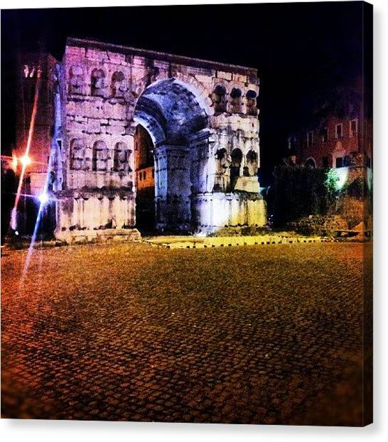 Roman Art Canvas Print - Passeggiata All'arco Di Giano by Enrico Di Giamberardino