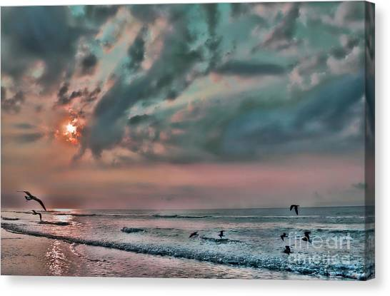 Pastel Sky With Birds Canvas Print