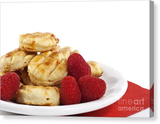 Pastries And Raspberries Canvas Print by Blink Images