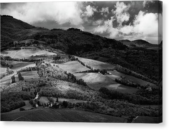 Black and white vineyard canvas print patches of light over hills in chianti tuscany