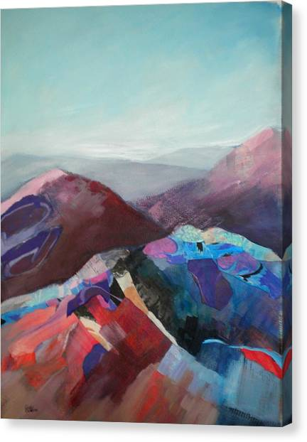 Patchwork Mountain Canvas Print by Sally Bullers