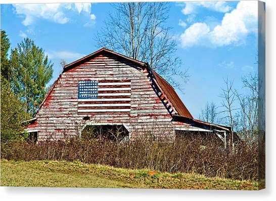 Patriotic Barn Canvas Print