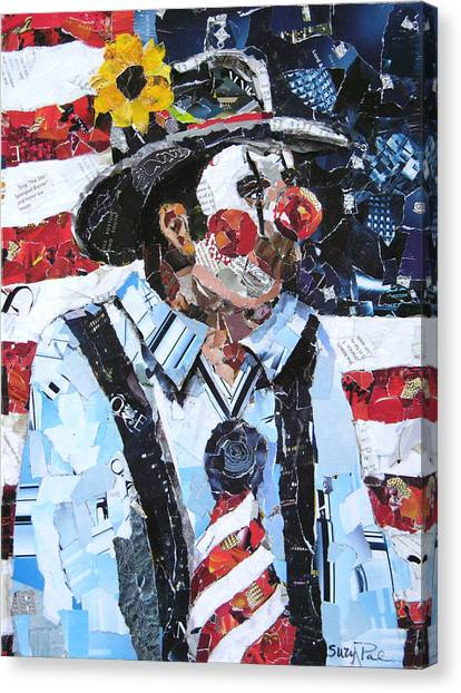 Rodeo Clown Canvas Print - Patriotic Clown by Suzy Pal Powell
