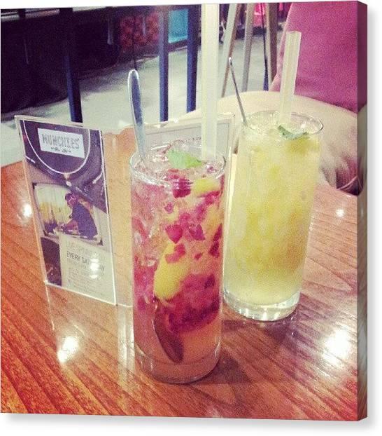 Strawberries Canvas Print - #peach #strawberry #slush #ice #drink by Michelle Kay