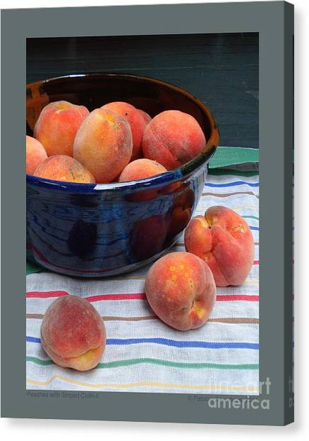 Peaches With Striped Cloth-ii Canvas Print