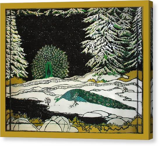 Peacocks In The Snow Canvas Print by Alexandra  Sanders
