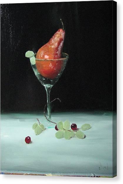Pear In Martini Glass Canvas Print by Iris Nazario Dziadul