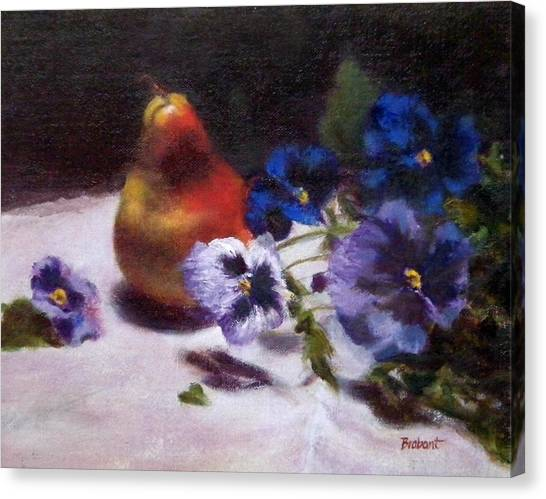 Pear With  Purple Pansies Canvas Print by Jill Brabant
