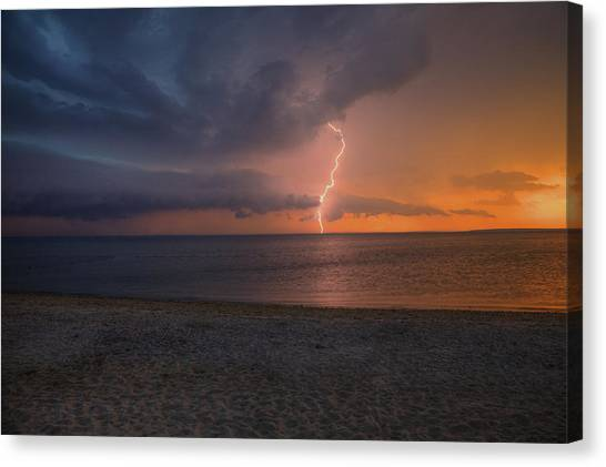 Peconic Bay Lightening Canvas Print