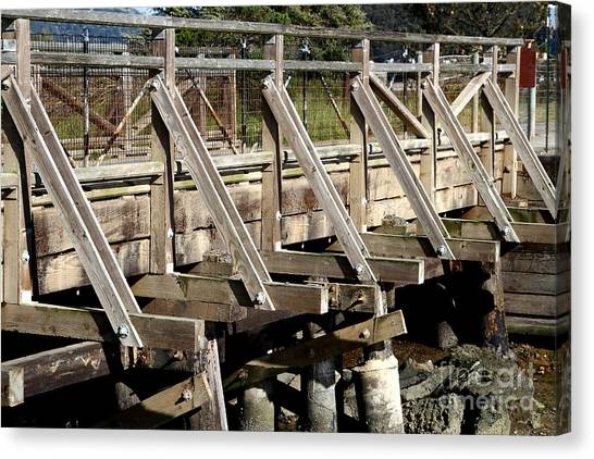 Pedestrian Bridge At Point Isabel In Richmond California . 7d15082 Canvas Print by Wingsdomain Art and Photography