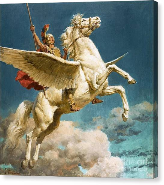 Pegasus Canvas Print - Pegasus The Winged Horse by Fortunino Matania