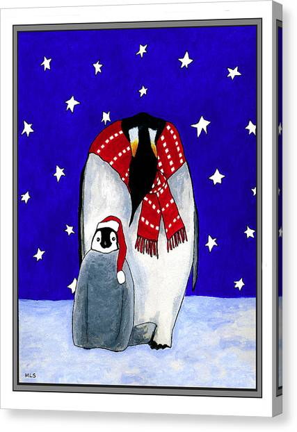 Penguin's First Christmas Canvas Print by Marla Saville