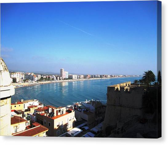 Peniscola Beach Panoramic View Water Reflection At The Mediterranean Water Front Homes In Spain Canvas Print