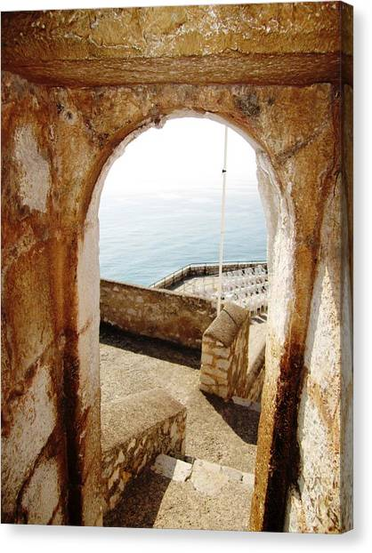 Peniscola Castle Arched Open Doorway Sea View II At The Mediterranean In Spain Canvas Print