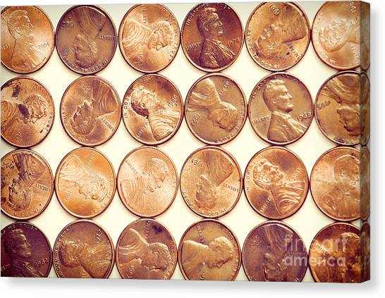 Currency Canvas Print - Pennies by HD Connelly