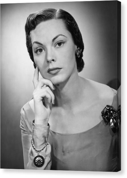 Pensive Woman Posing In Studio, (b&w), Portrait Canvas Print by George Marks