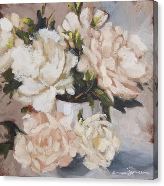 Peonies In White Vase Canvas Print