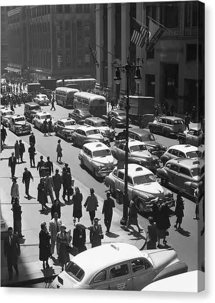 People On Busy City Street W/traffic Canvas Print by George Marks