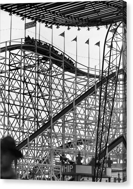 People On Roller Coaster Canvas Print by George Marks