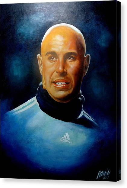 Pepe Reina Portrait Canvas Print by Ramil Roscom Guerra