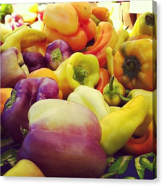 Pepper Canvas Print - #peppers #farmersmarket #colorful by Crystal Peterson
