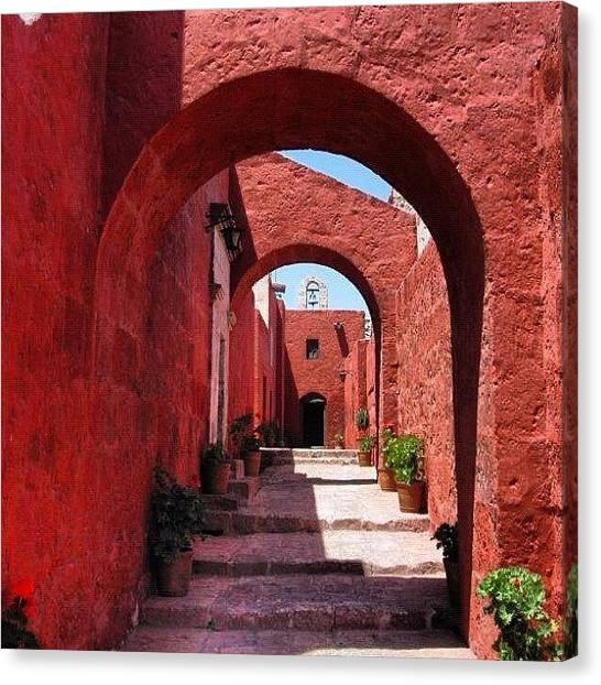 Peruvian Canvas Print - #peru #arequipa #southamerica #red by Alon Ben Levy