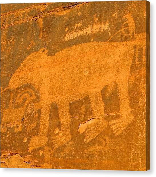 Indian Canvas Print - #petroglyph #southwest #sandstone #moab by Gary Whitton