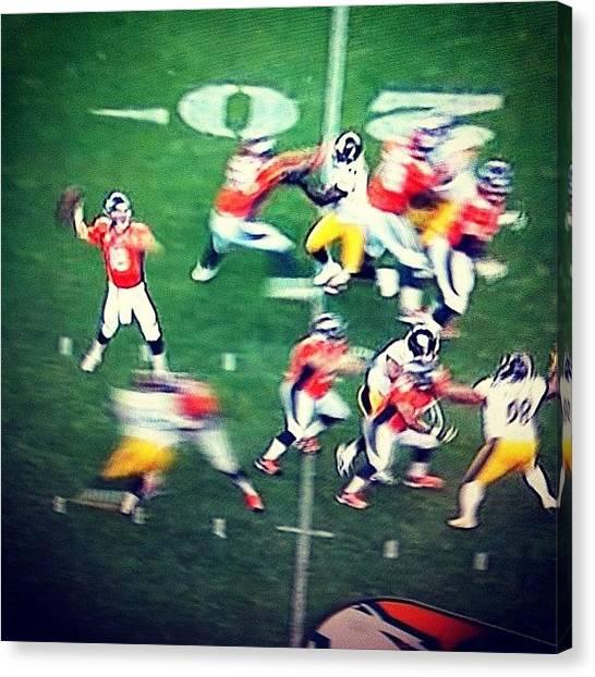 Peyton Manning Canvas Print - #peyton #manning #first #snap #back by Alex Mamutin