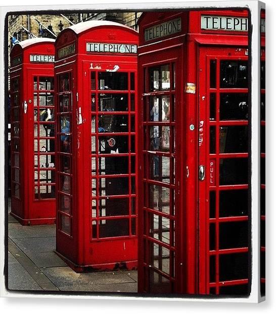 I Phone Canvas Print - Phone Booths At Royal Mile #edinburgh by Sebastiaan Van der Graaf