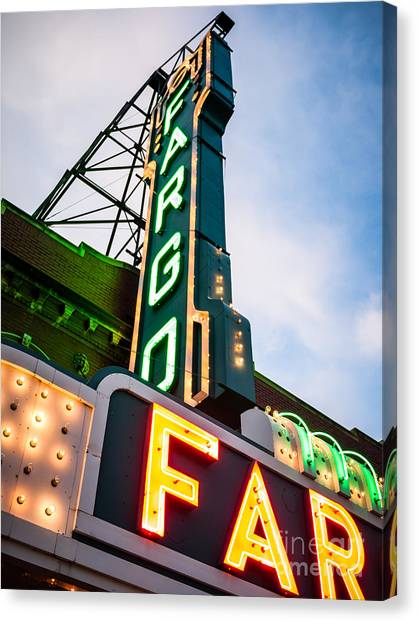 North Dakota Canvas Print - Photo Of Fargo Theater Marquee Sign At Night by Paul Velgos
