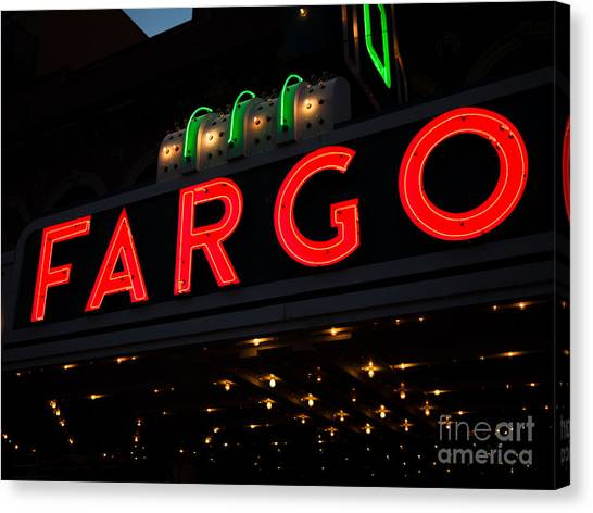 North Dakota Canvas Print - Photo Of Fargo Theater Sign At Night by Paul Velgos