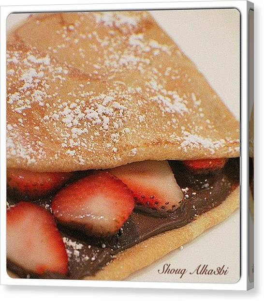 Strawberries Canvas Print - #photo Taken #by_me @#crepe #cafe In by Shooq Alkaabi