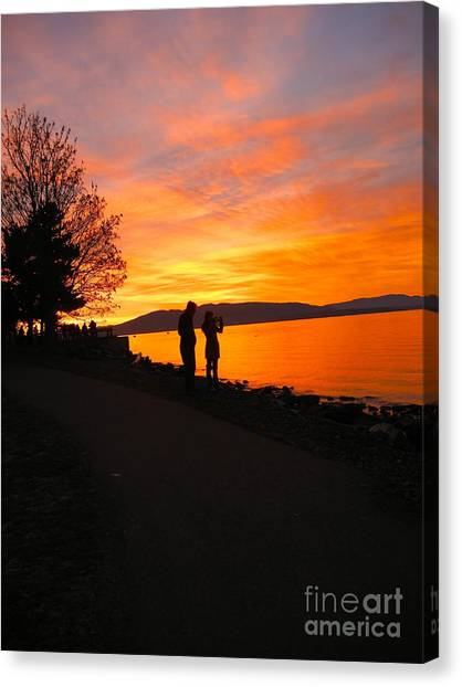 Photographing The Flames Canvas Print