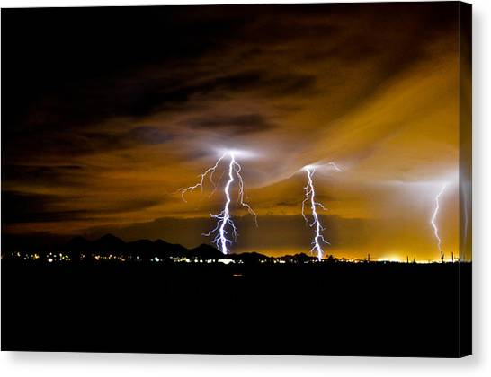 Phx Night Lightning #1 Canvas Print by Kenny Jalet