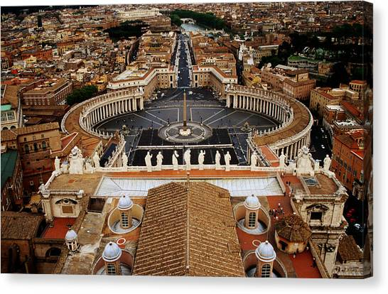 Piazza San Pietro From St Peter Cathedral's Dome, Rome, Italy Canvas Print by Witold Skrypczak