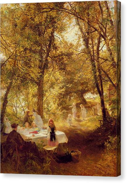 Victorian Garden Canvas Print - Picnic by Charles James Lewis