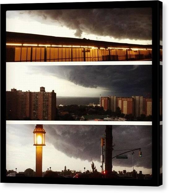 Lightning Canvas Print - #picstitch #storm #nyc #brooklyn by Blazin One