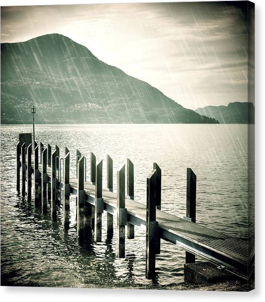 Rain Canvas Print - Pier by Joana Kruse