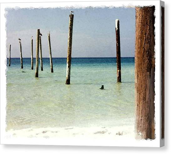Pier Pilings Destin Fla Canvas Print by Brenda Leedy