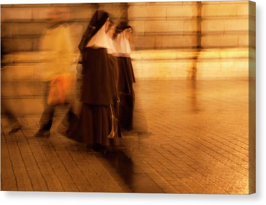 Canvas Print featuring the photograph Piety In Motion by Lorraine Devon Wilke