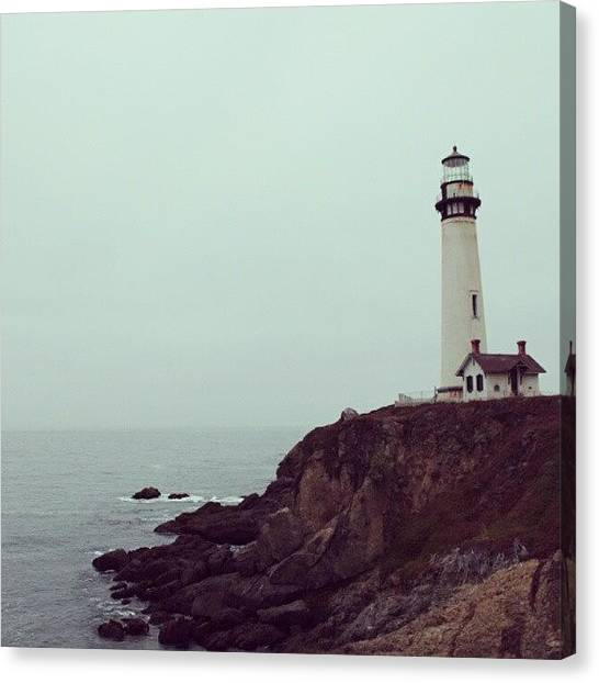 Ocean Cliffs Canvas Print - Pigeons Point #pigeonspoint #lighthouse by Saul Jesse Beas